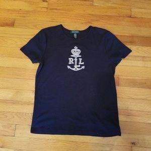 Ralph Lauren black t-shirt silver anchor